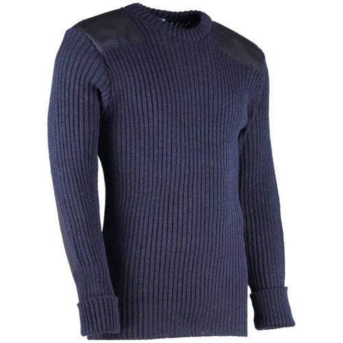 woolly pully army jumper with patches navy blue