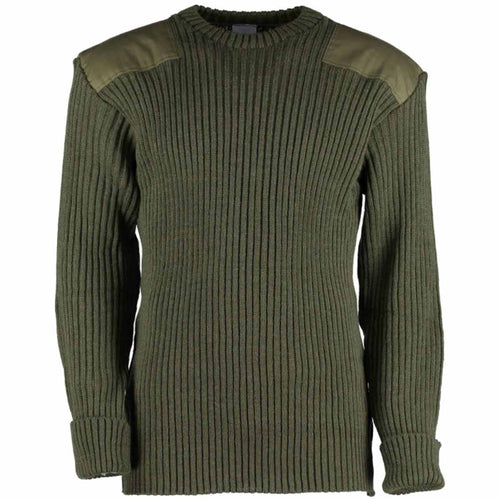 wolly pully army jumper with patche olive