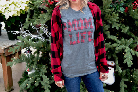 #MOMLIFE Crew Neck Tee Grey with Buffalo Plaid
