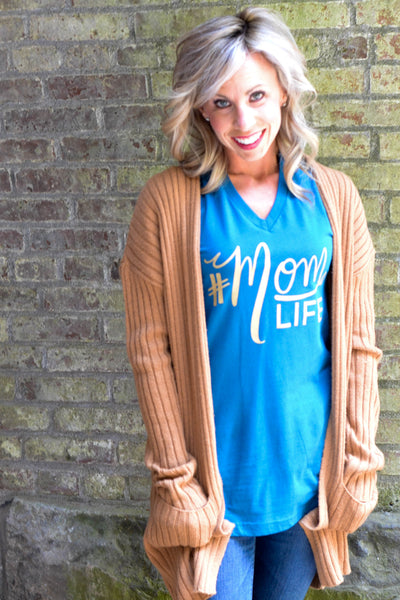 The Original #MOMLIFE V-Neck Tee in Teal with Gold