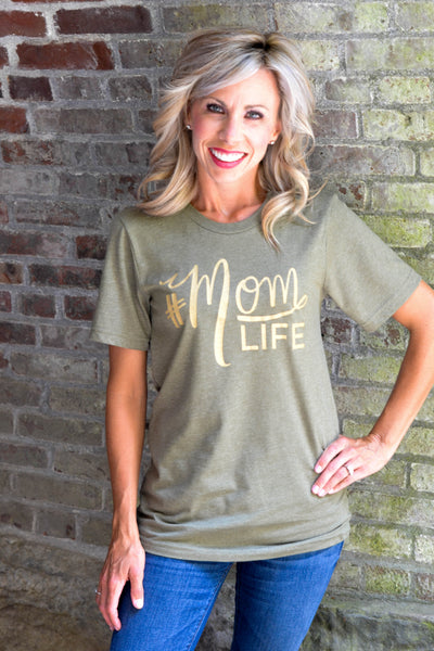 The Original #MOMLIFE Crew Neck Tee in Olive with Gold