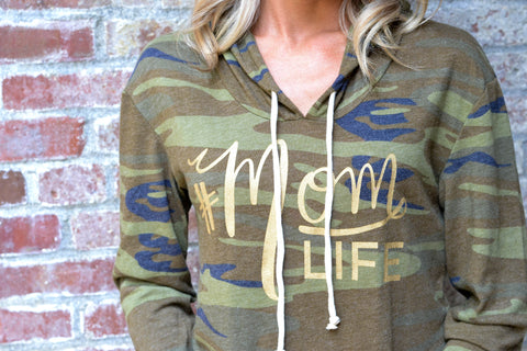 #MOMLIFE Camo Long Sleeve Hoodie with Gold