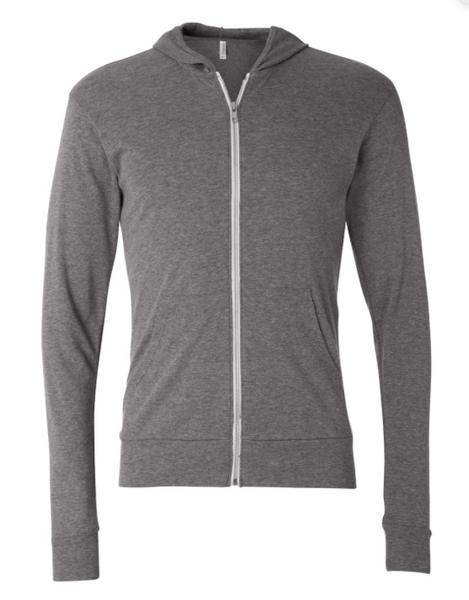 Peace & Kindness Zip-up Hoodie- Lightweight Full-Zip Hoodie Grey with White -OR- YOU CHOOSE THE INK COLOR