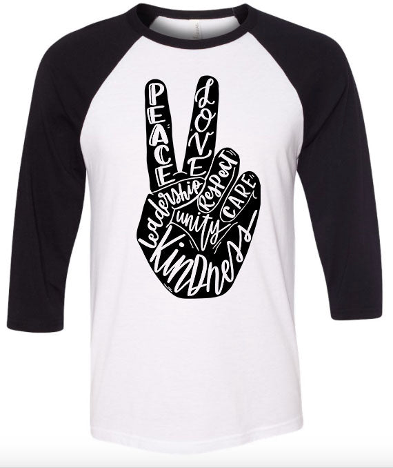 Peace & Kindness Raglan (White with Black Sleeves) Black Ink (Sizes 2t-2x) YOU CHOOSE THE INK COLOR