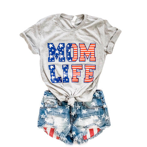 STARS & STRIPES MOM LIFE Tee (Heather Grey)