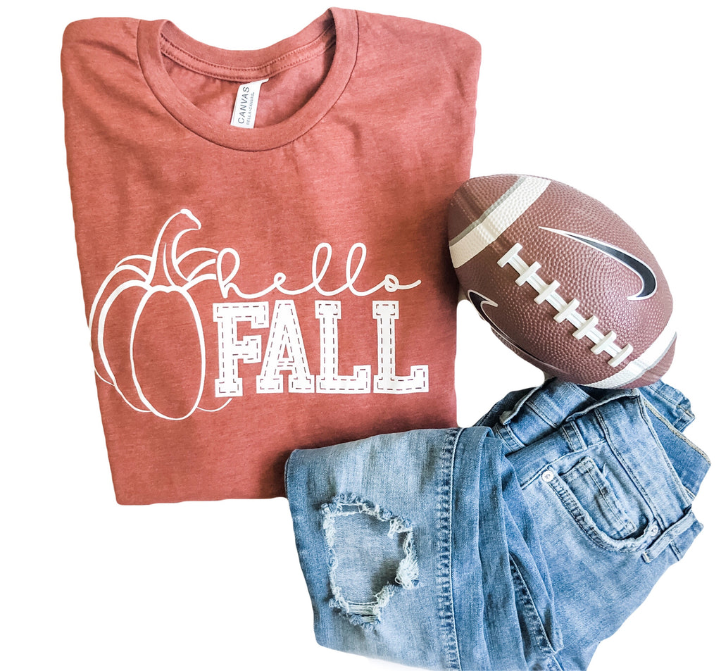 Hello Fall Tee in Pumpkin Spice