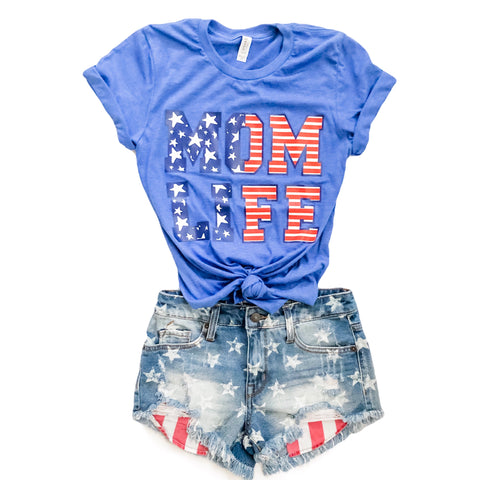 STARS & STRIPES MOM LIFE Tee (Heather Blue)