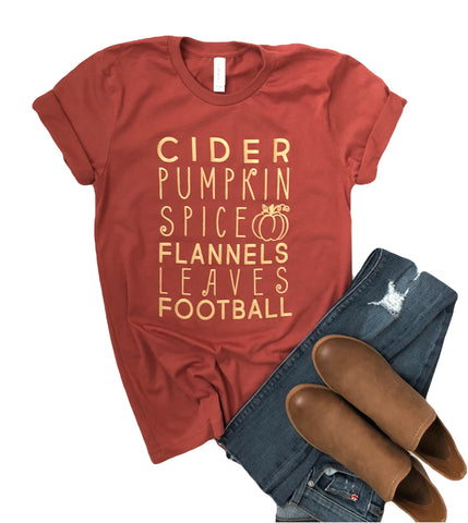 Everything Fall Tee on Pumpkin with Gold Ink