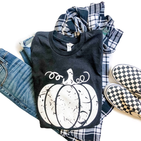 Grunge Pumpkin Tee Heather Black