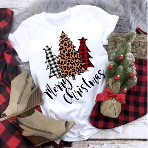 Merry Christmas Buffalo Plaid Tree Tee (Crew or V-neck option)