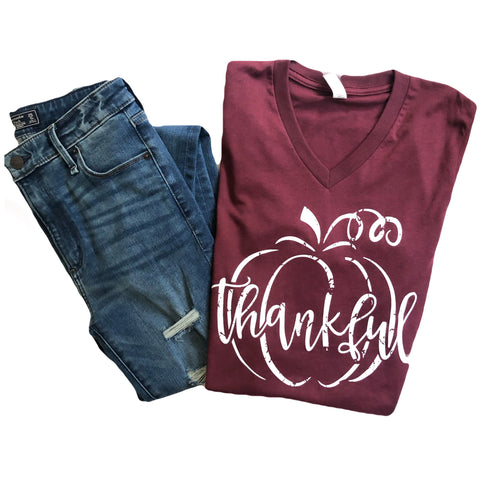 Thankful Pumpkin Tee Wine Triblend