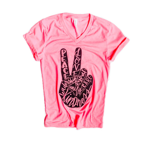 Peace & Kindness V-Neck Tee Neon Pink with Black Ink""