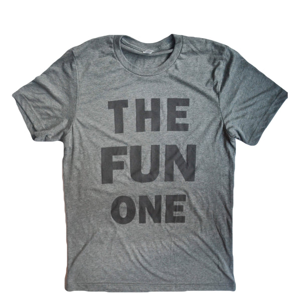 The FUN One Tee in Heather Grey with Black lettering