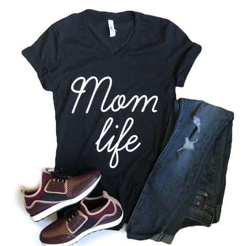 Mom Life V-Neck Tee in Heather Black with White