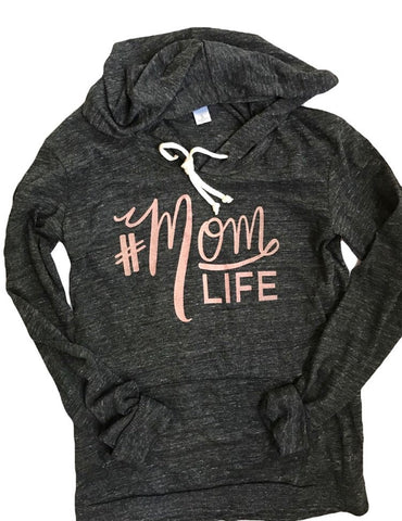 #MOMLIFE Tri-Black Long Sleeve Hoodie with Rose Gold