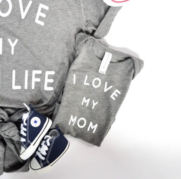I Love my Mom (onesies + youth tees) Tri Blend Grey with White Ink