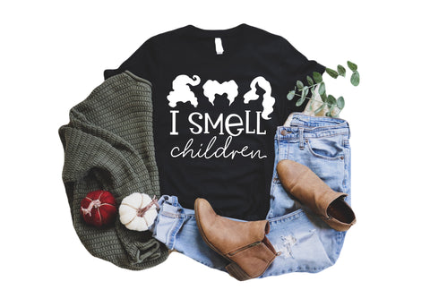 I smell children tee (black with white ink) Hocus Pocus inspired