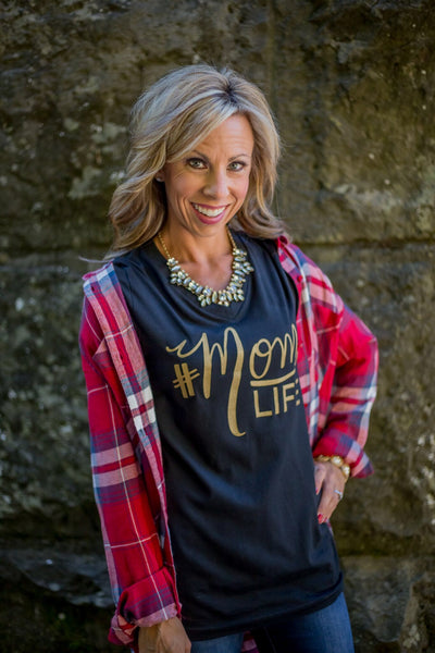 The Original #MOMLIFE V-Neck Tee in Black with Gold