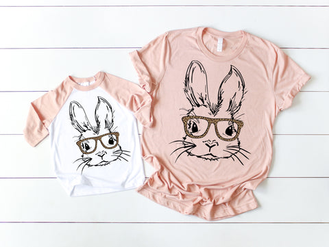 Girl Bunny Raglan Peach + Peach Tee -or- Raglan Girl Option  (TODDLER-ADULT)