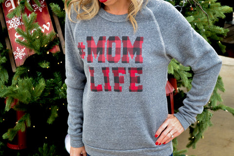 #MOMLIFE Buffalo Plaid Sweatshirt in Grey