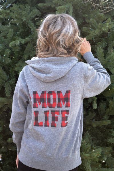 #MOMLIFE Buffalo Plaid Print on Zip-up Hoodie