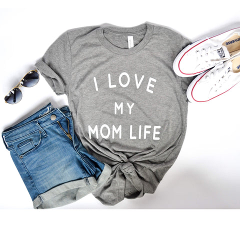 I Love my Mom Life Grey Tri-blend Tee