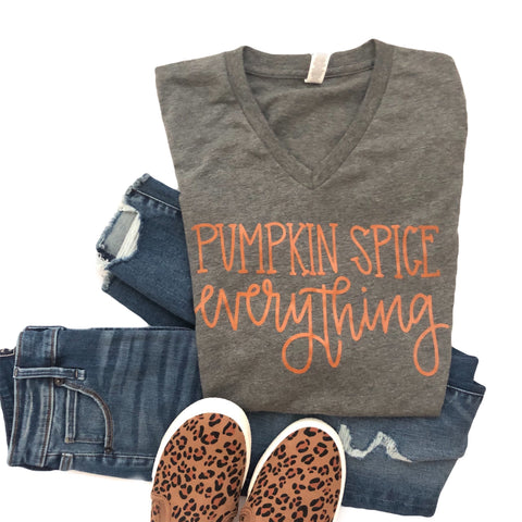 Pumpkin Spice Everything Tee-Grey V-neck