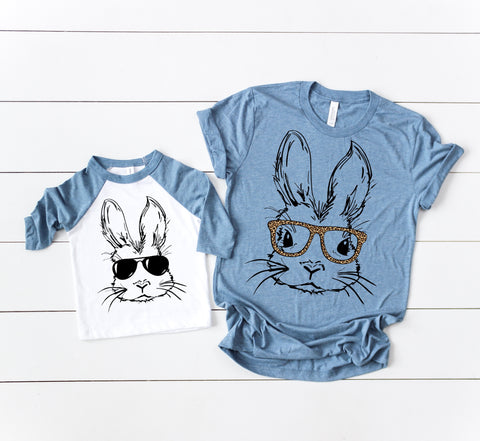 Boy Bunny Raglan Denim + Denim Tee -or- Raglan Girl Option  (TODDLER-ADULT)