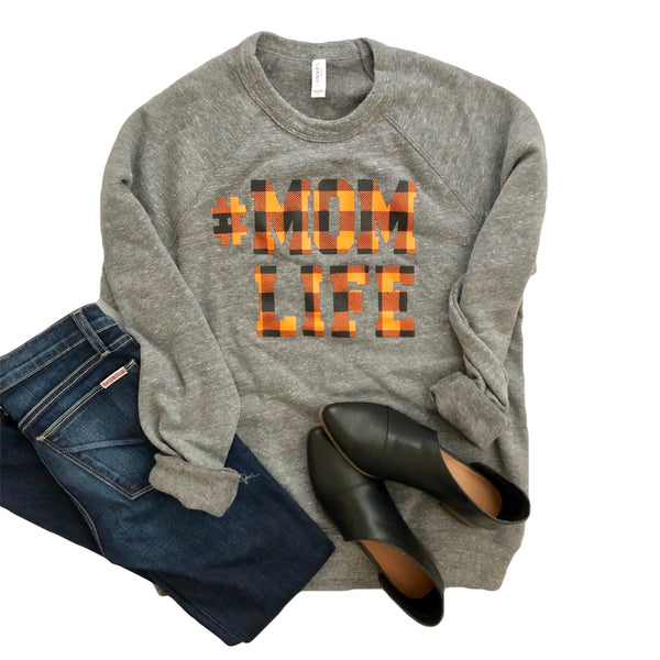 #MOMLIFE Fall Buffalo Plaid Sweatshirt in Grey (Orange & Black)