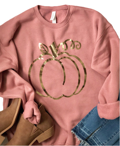 Rose Gold Foil Pumpkin on Mauve Sweatshirt