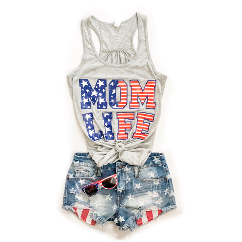 STARS & STRIPES MOM LIFE Flowy Racerback Tank (Grey)