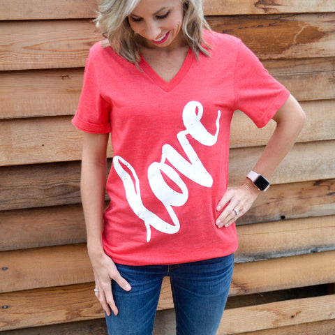 LOVE V-neck tee (Heather Red with White)