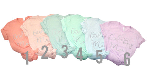Girl + Boy Mom Crew Neck Tee YOU Choose the Color with Grey Shimmer Ink