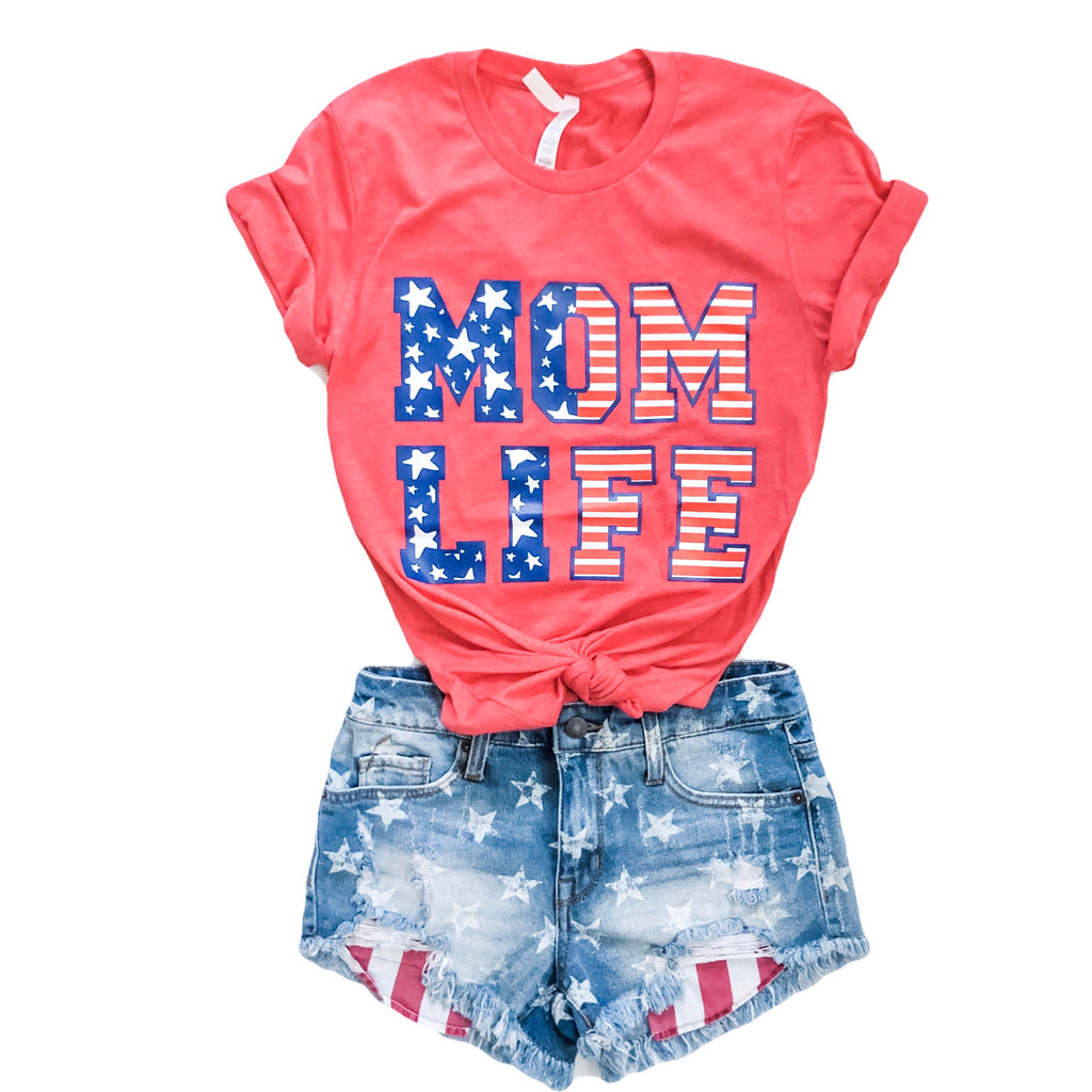 STARS & STRIPES MOM LIFE Tee (Heather Red)