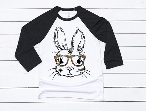 Girl Bunny Black + White Raglan  (TODDLER-ADULT)