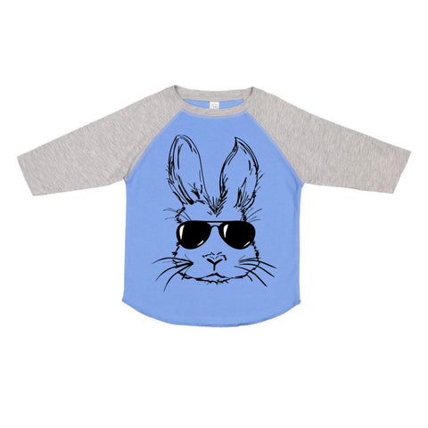 Boy Bunny Blue + Vintage Heather Raglan (TODDLER-ADULT)