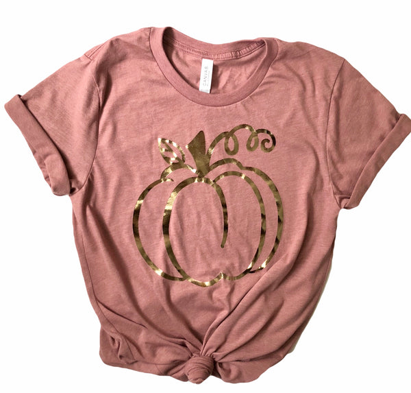 Rose Gold Foil Pumpkin Tee in Heather Mauve