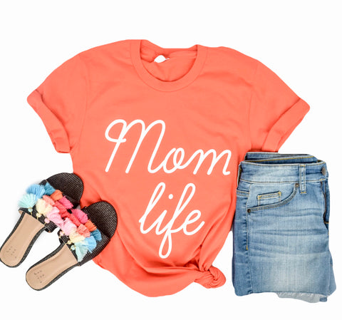 Coral Mom Life with White Ink Crew Neck Tee