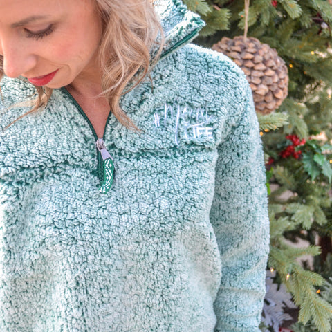 #MOMLIFE Embroidered Sherpa Quarter-Zip Pullover (YOU CHOOSE THE COLOR)
