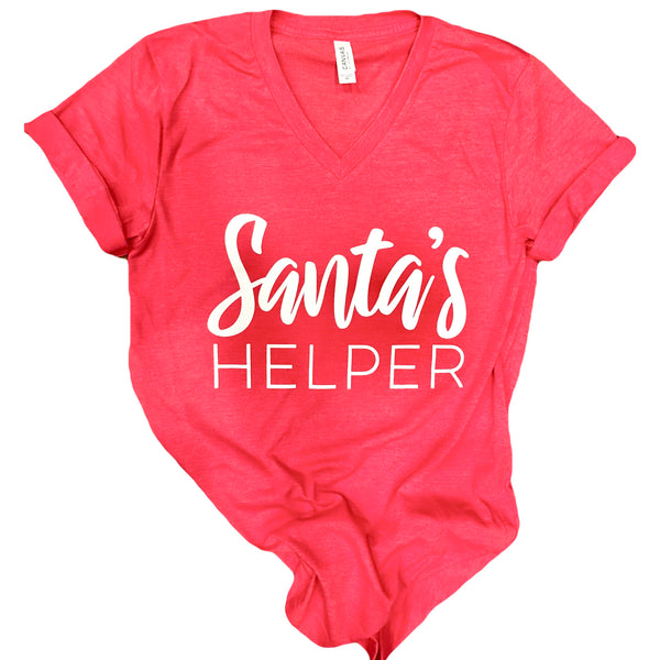 Santa's Helper V-Neck Tee in Heather Red with White Ink
