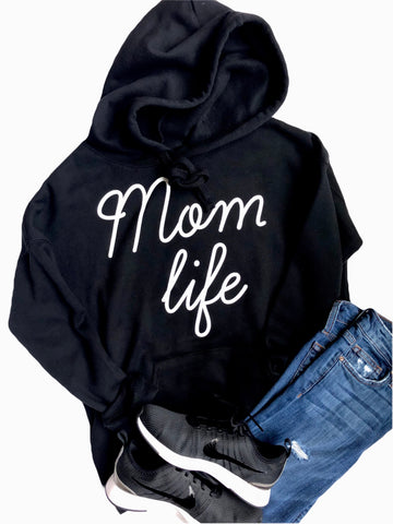 Mom Life Hooded Sweatshirt Black with White Ink