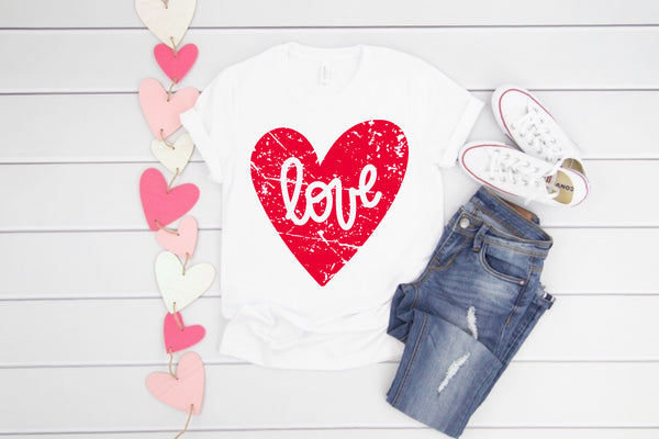 LOVE Heart (Distressed) crew neck tee + YOU CHOOSE Pink or Red Ink