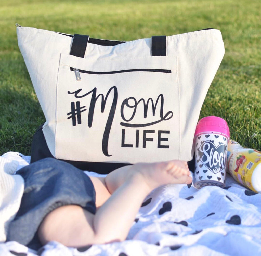 #MOMLIFE Natural/Black Zippered Tote Bag