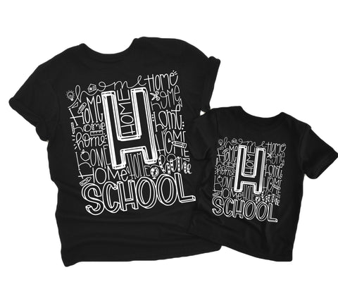 Homeschool Black with White Ink (Sizes 4t-2XL)