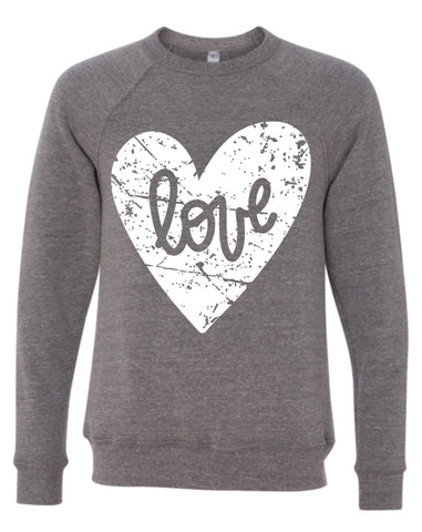 LOVE Heart (Distressed) + YOU CHOOSE White or Black Ink