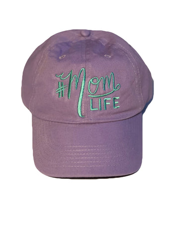 "#MOMLIFE Hat (Lavender with Aqua) Relaxed ""Dad"" Style"