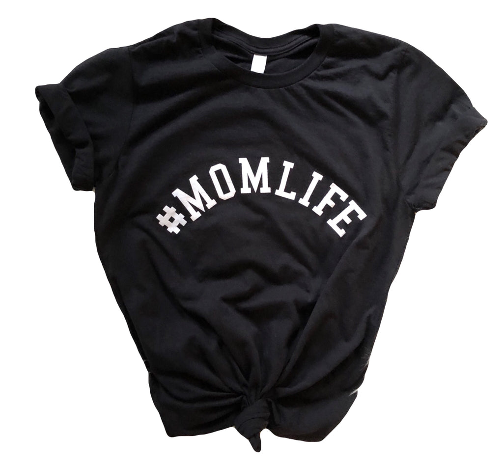 #MOMLIFE Crew Neck Tee in Heather Black with White