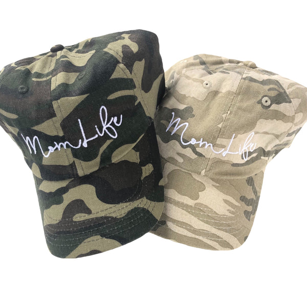 "Mom Life Hat Camo Relaxed ""Dad"" Style (YOU choose) 12 thread options"