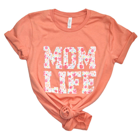 Floral Mom Life Crew Neck Sunset Colored Tee