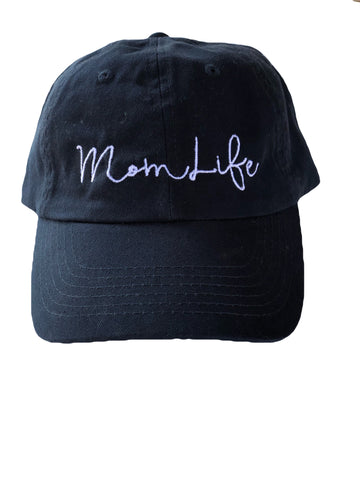 "Mom Life Hat (Black & White) Relaxed ""Dad"" Style"